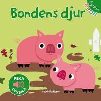 """Omslagsbild till Bondens djur. På bilden syns två grisar i en lerpöl, samt en märkning för """"peka lyssna""""."""