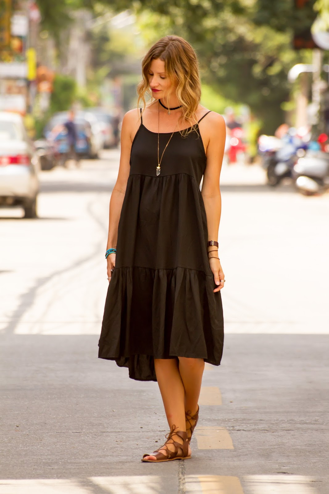 Fashion and Travel Blogger, Alison Hutchinson, is wearing a black dress during the mourning period in Chiang Mai, Thailand