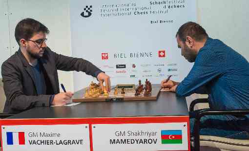 Partie nulle ronde 8 entre Maxime Vachier-Lagrave et Shakhriyar Mamedyarov - Photo © Lennart Ootes