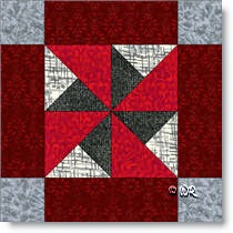 Wheel Frame quilt block © W. Russell, patchworksquare.com