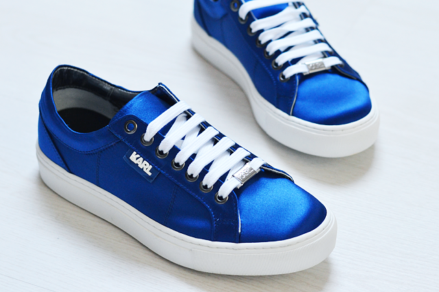 Karl lagerfeld, k by karl, electric blue, sneakers, satin, designer sneakers, 2015, collection, street style, zalando