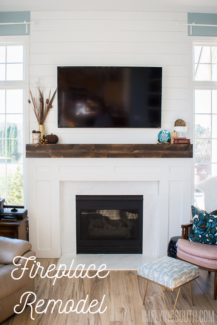 The Great Fireplace Remodel: Planked walls, Beam mantels ...