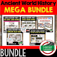 Ancient World History Mega Bundle, Ancient World History Curriculum, World History Digital Interactive Notebooks, World History Choice Boards, World History Test Prep, World History Guided Notes, World History Word Wall Pennants, World History Game Cards, World History Timelines, Early Man, River Valley Civilizations, Ancient Greece, Ancient Rome, Ancient China, Asian Empires, African Kingdoms, Aztec, Inca, Maya, Middle Ages, Renaissance, Reformation, Explorers