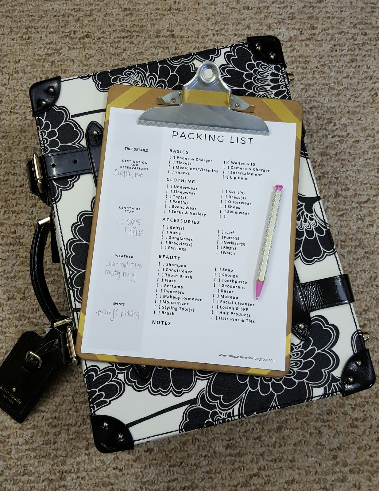 Free printable packing list, and tips to avoid over packing