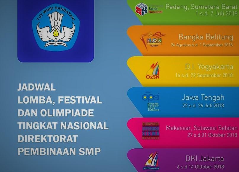 Jadwal Lomba Festival dan Olimpade SMP 2018