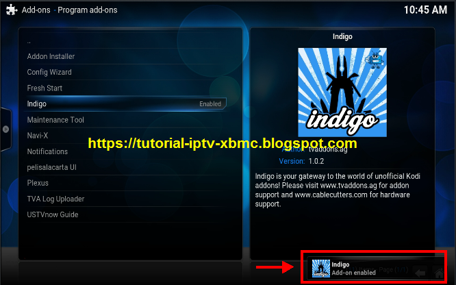 How to add indigo app to kodi