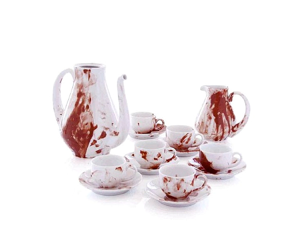 Juego de tazas o jarros con diseño muy inusual con color rojo