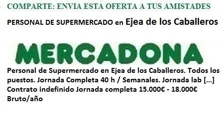 Ejea de los Caballeros, Zaragoza. Lanzadera de Empleo Virtual. Oferta Mercadona