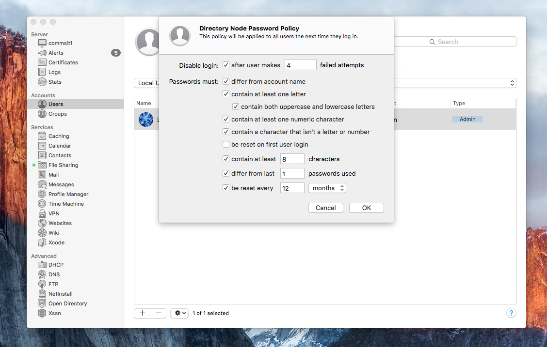 MacNix: Set Password policy for specific users or groups in