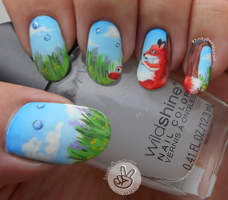 Little Foxy, Just\'a Blowing Bubbles - Freehand Fox Nail Art ...