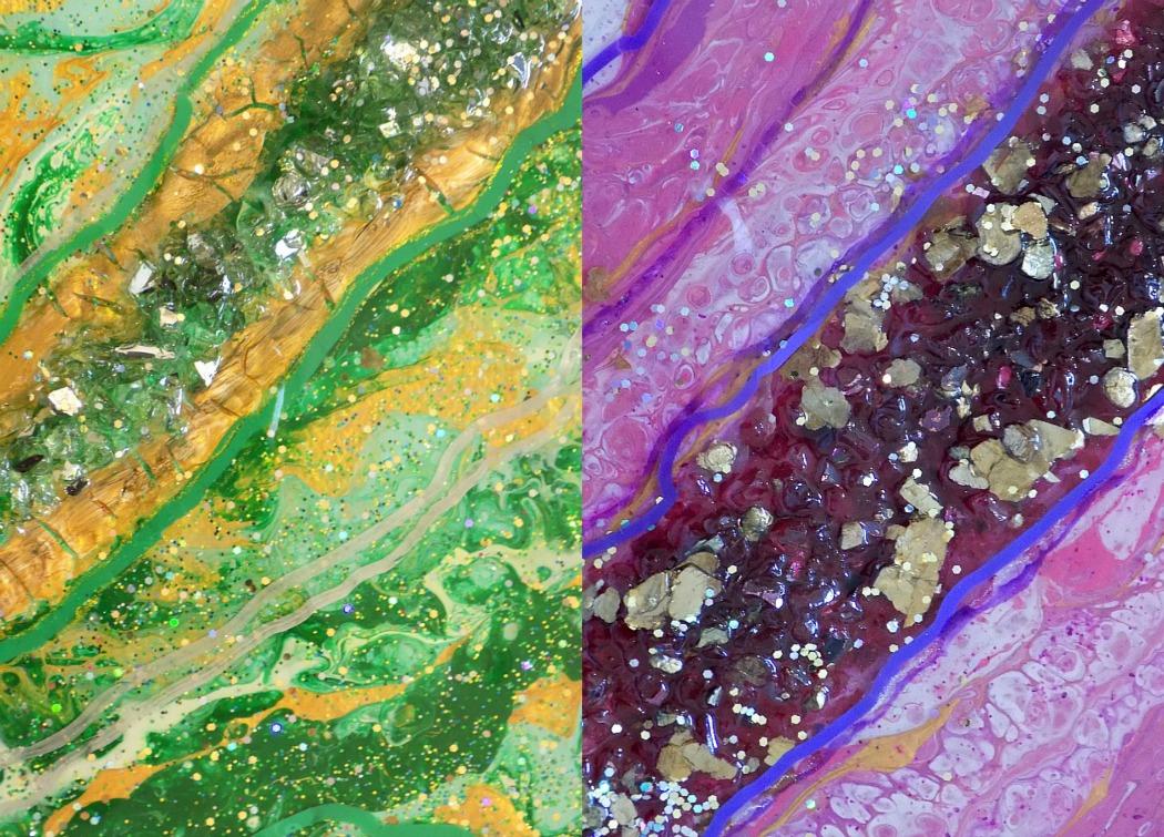 Ζωγραφική με dirty pouring και υγρό γυαλί