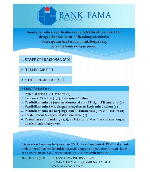 Lowongan Kerja Bank Fama untuk banyak posisi 2018