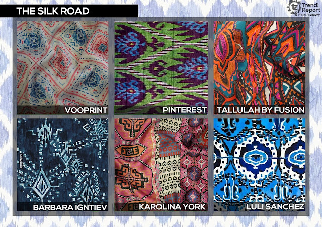 Textile Candy, The Silk road, irate prints, watercolour irate, painted irate, ethnic print, Vooprint, Talulah by fusion, Barbara Igntiev, karolin York, Luli Sanchez, Premiere vision, trend report, trend forecasting, Spring/Summer 2018, SS18