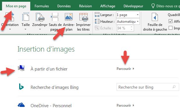 Insérer une image d'arrière-plan Excel