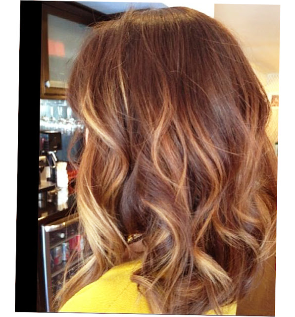 Balayage Highlights Dark Hair Before And After Photo