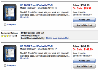 HP cuts TouchPad price to $99