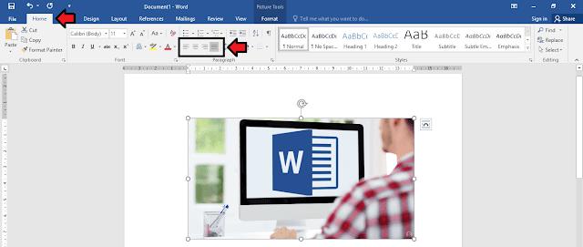 mengatur posisi gambar berdasarkan text align