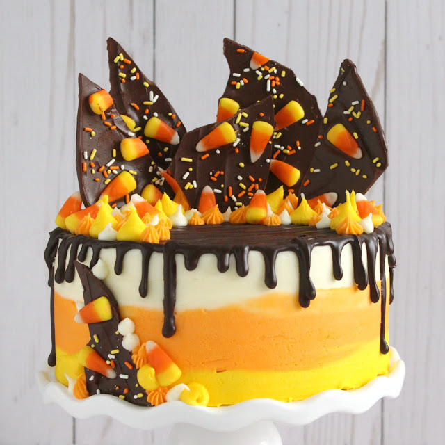 Candy Corn Layer Cake from LoveandConfections.com