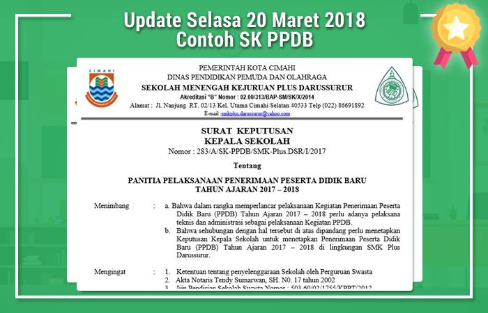 Update Selasa 20 Maret 2018 Contoh SK PPDB