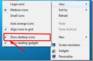 Show Desktop Icons, Windows 7