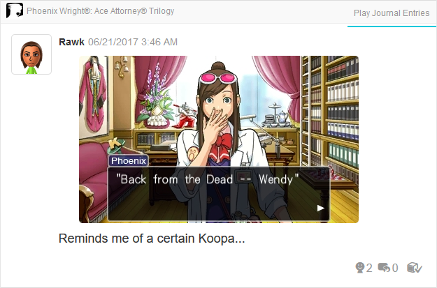 Wendy Oldbag Koopa Phoenix Wright Ace Attorney Trilogy 3DS Miiverse Capcom Nintendo