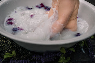 Novalee's First Milk Bath Flower Sitter Session at 6 months old by Morning Owl Fine Art Photography San Diego, CA