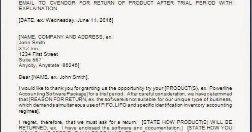 Material Return Letter To Supplier