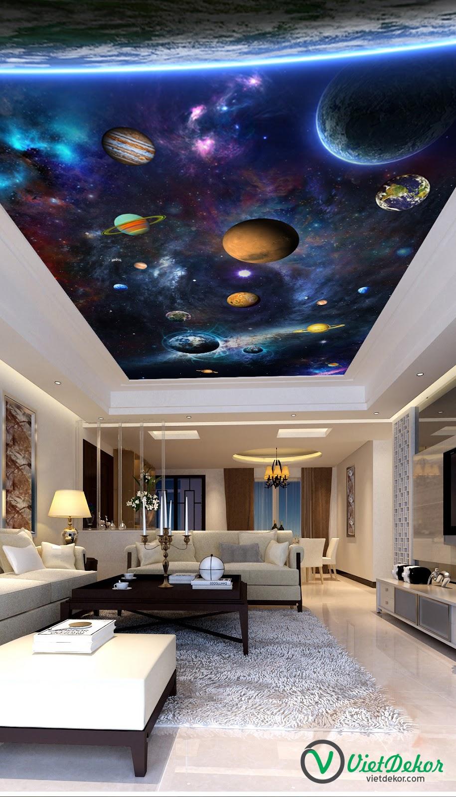 Tranh trần 3d xuyên sáng phòng khách đẹp