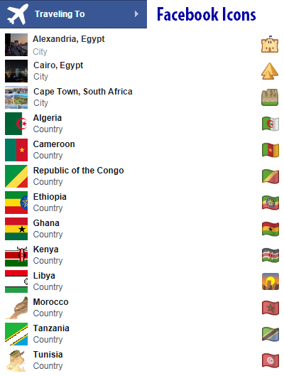 Africa Facebook travel icons
