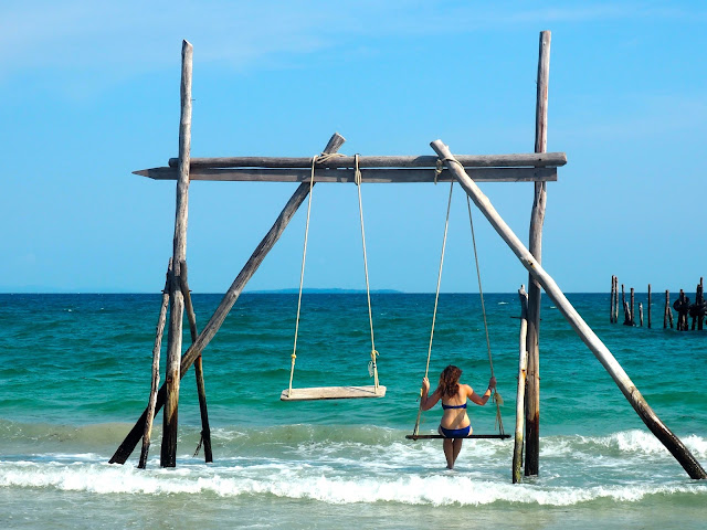 Ocean swing-set on Koh Rong, Cambodia