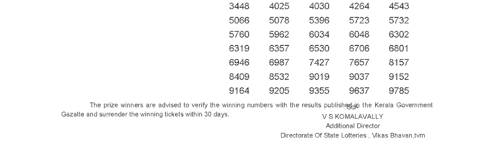 DHANASREE Lottery DS 234 Result 26-4-2016