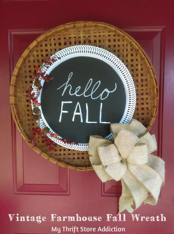 vintage farmhouse fall basket wreath