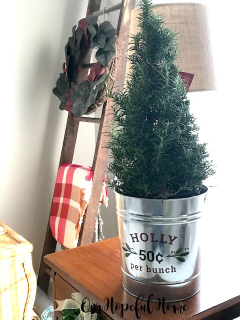 rosemary plant Christmas tree holly galvanized bucket magnolia wreath ladder plaid blanket