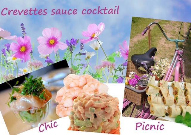 crevettes sauce cocktail, version chic, version repas en extérieur pique-nique, lunchbox, bento..