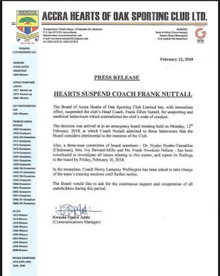 Hearts of Oak suspend coach Nuttal for bad conduct