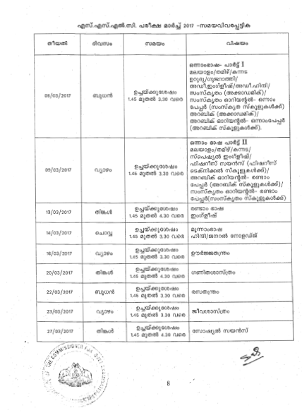 Kerala SSLC Time Table 2017 Kerala 10th Date Sheet 2017