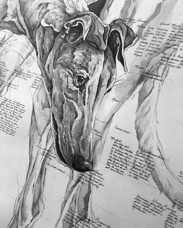 07-Greyhound-A-Landerman-Animal-Drawings-Paintings-in-Graphite-and-Ink