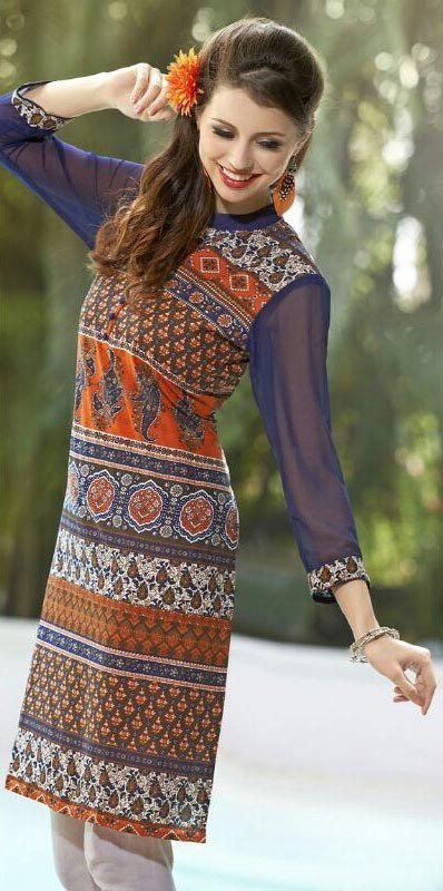 Beautiful Orange & Blue Cotton Printed Beautiful Designer Kurti