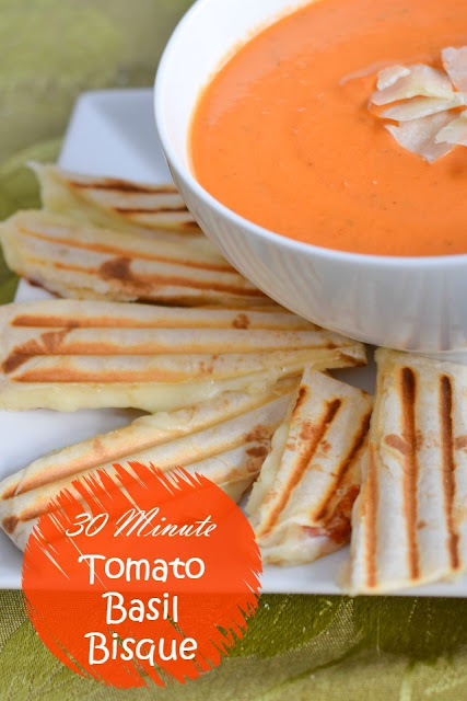 30-minute tomato basil bisque #soups #recipes #tomatosoup