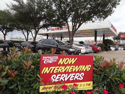 Pappasitos Now Interviewing (posted yard sign)