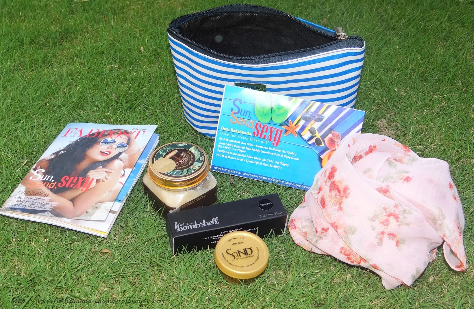 Fab Bag, May Fab Bag, monthly subscription, Be a bombshell, After glow sand, lip, cheek and eye stick, review, Vana Vidhi Rice scrub, review and swatches