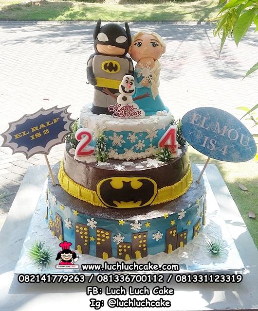 Kue Tart Tingkat 2 Tema Batman dan Frozen