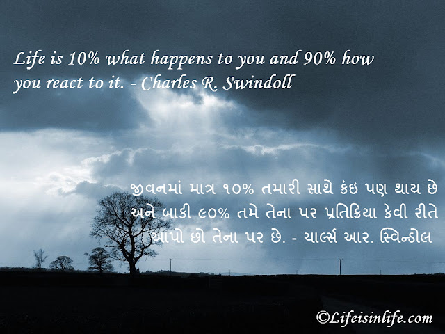 Motivational quotes Gujarati images-life is 10% what-charles r. swindoll