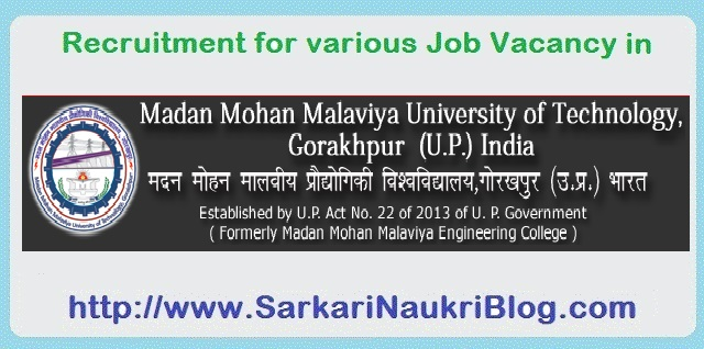 Naukri Vacancy Recruitment MMMUT Gorakhpur