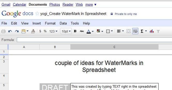 Cloud Computing -- Google Docs Way: yogi_Create WaterMark In Spreadsheet