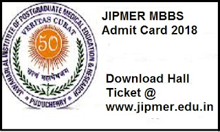 JIPMER MBBS Admit Card 2018