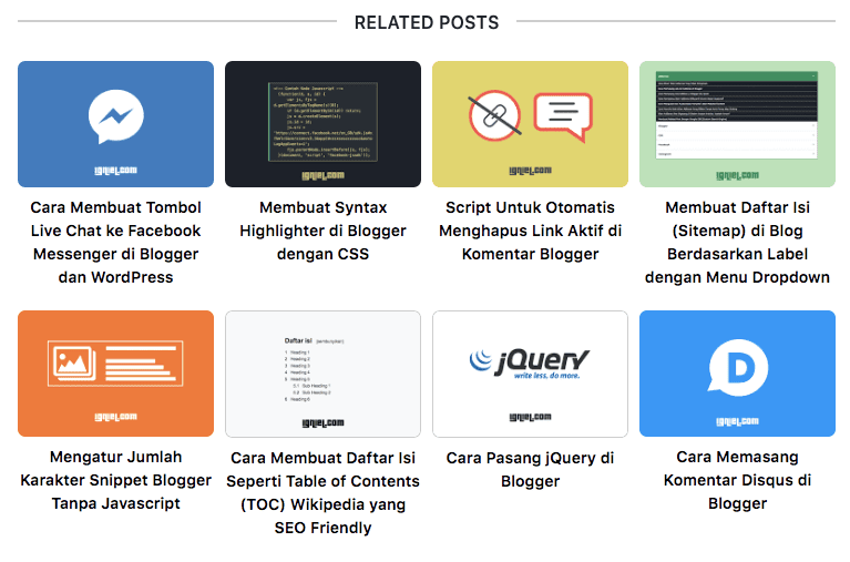 Related Post dengan Thumbnail Model Grid di Bawah Postingan - Igniel
