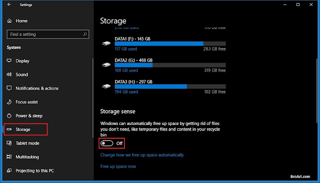 Membersihkan Hardisk Otomatis di Windows 10 dengan Storage Sense