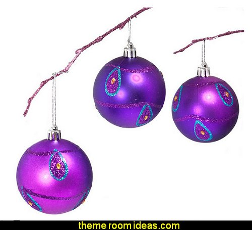 purple Peacock Christmas Decorations
