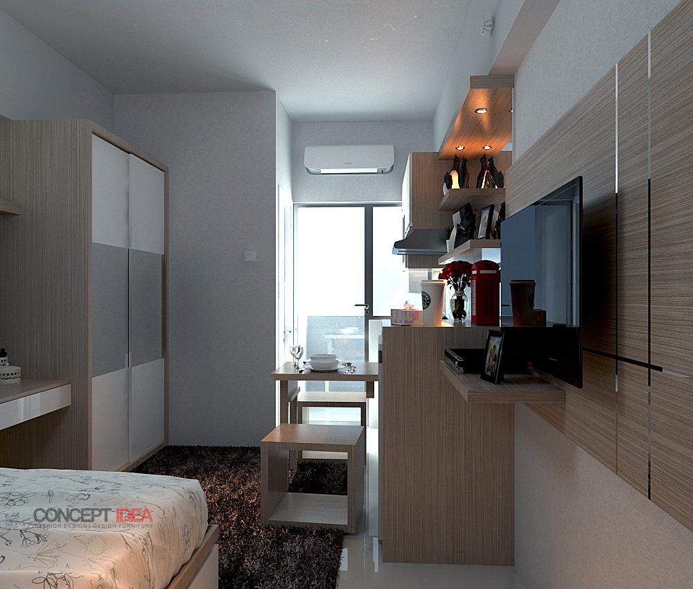 Berikut Interior Design Apartment GUNAWANGSA MERR Surabaya Type 1 Bed Room Dengan Tema Minimalis Modern Untuk Desain Ini Client Kami Menginginkan Meja